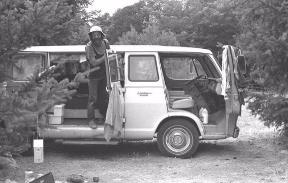 Hippie Ken and his live-in van, Champoeg State Park, Oregon (USA) 1973