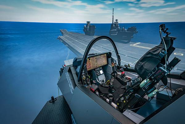 UK PILOTS TRAIN IN F-35 SIMULATOR TO OPERATE ON CARRIER
