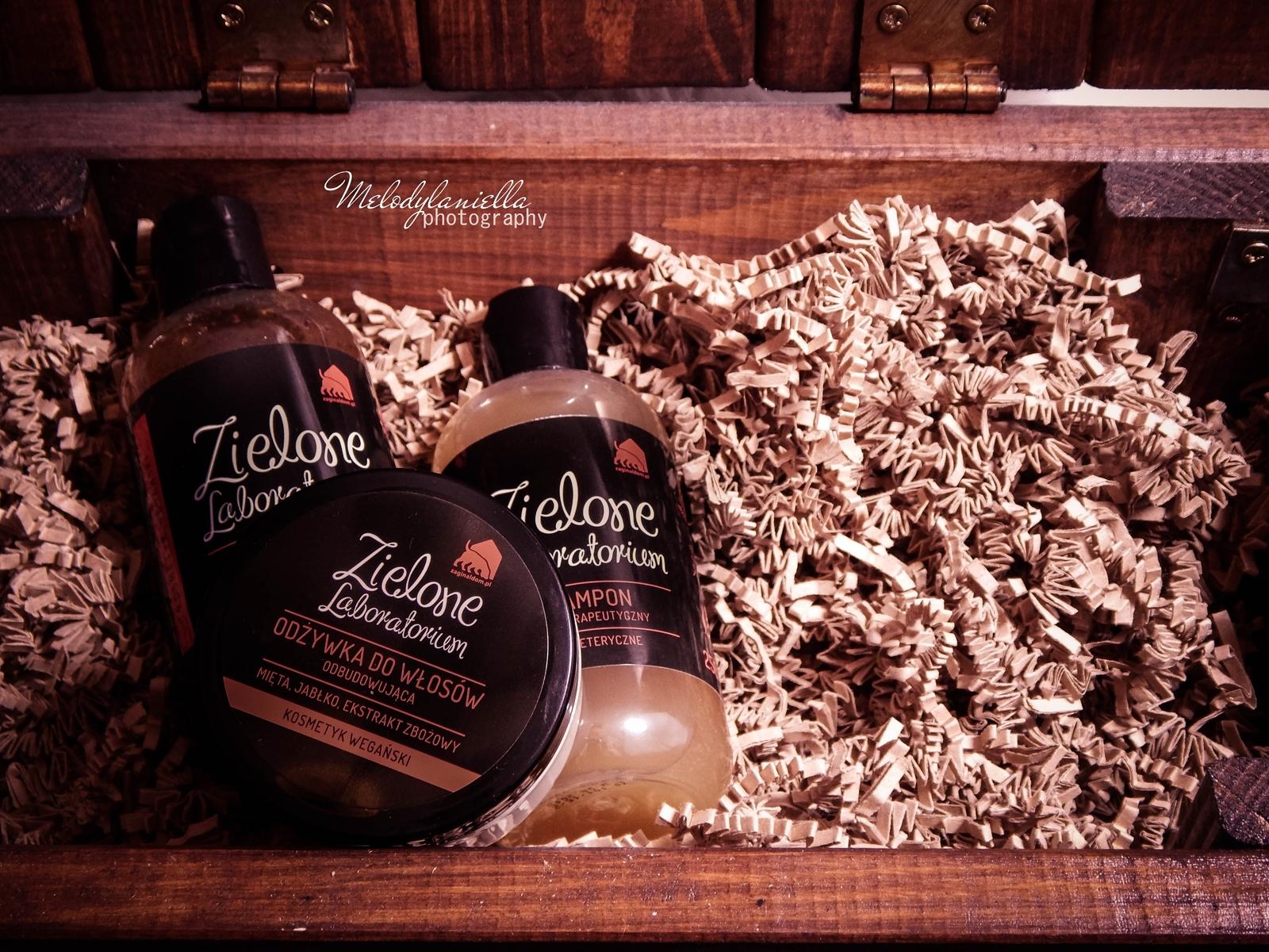 zielone laboratorium odżywka do włosów odbudowująca kosmetyki wegańskie żel do mycia szampon aromaterapeutyczny kosmetyki o mocnych zapachach olejki eteryczne kosmetyki naturalne melodylaniella blog