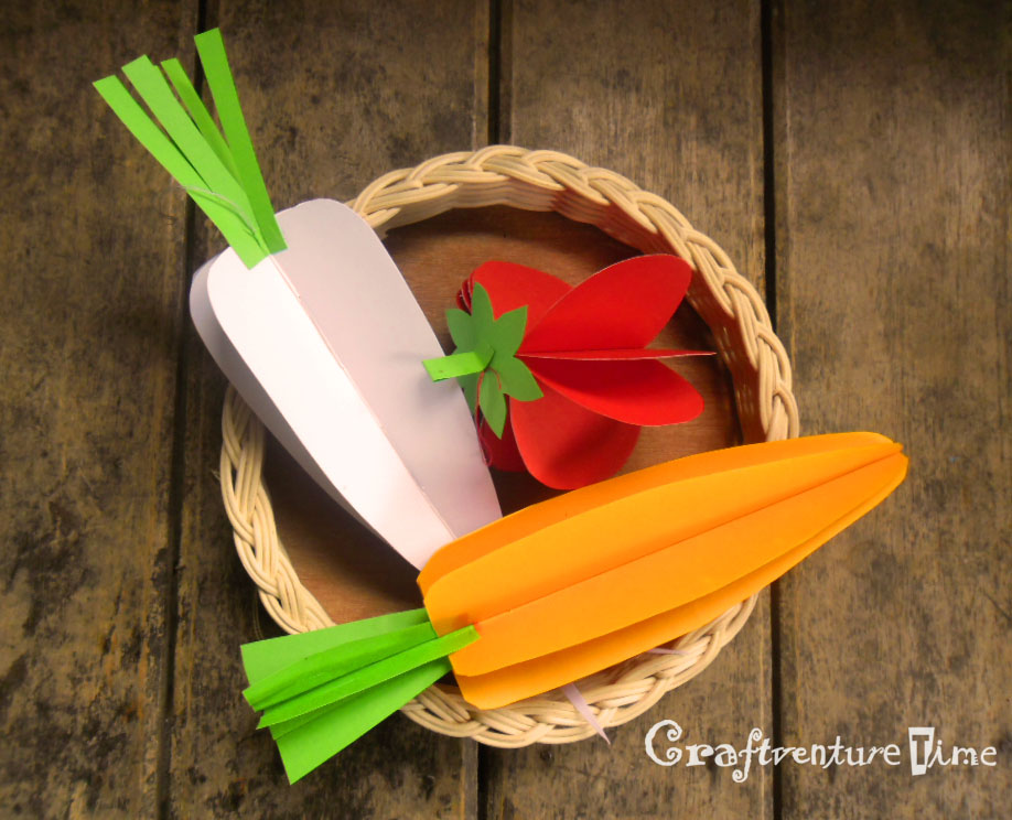 Craftventure time 3d paper fruits and vegetables for How to make paper projects