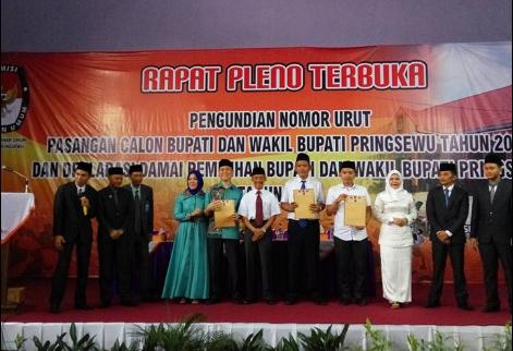Deklarasi Damai dan Penentuan Nomor Urut Pasangan Calon Bupati dan Wakil Bupati Pringsewu 2017