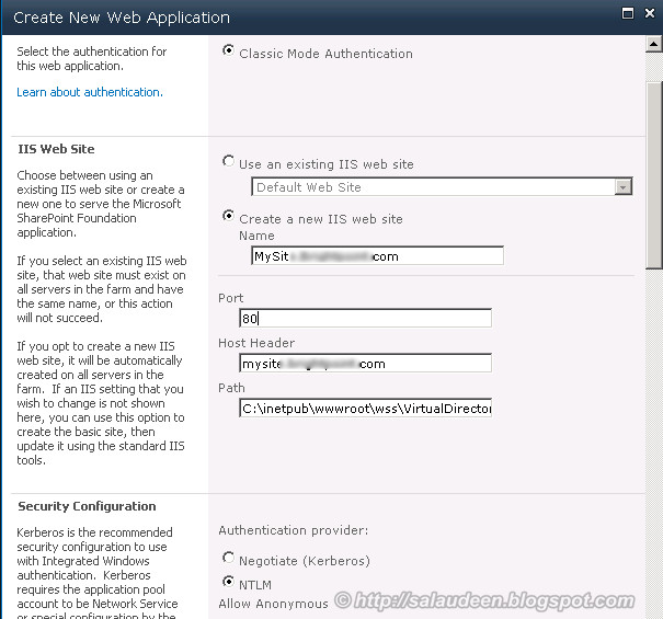 configuring my sites on sharepoint 2010 - Creating My Site Host web application