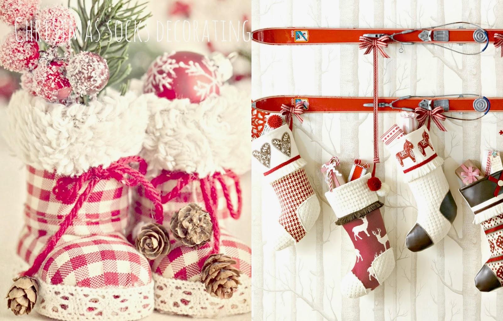 świąteczne dekoracje skarpety