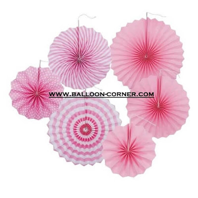 Paper Fan Set 6 Pcs Warna Pink