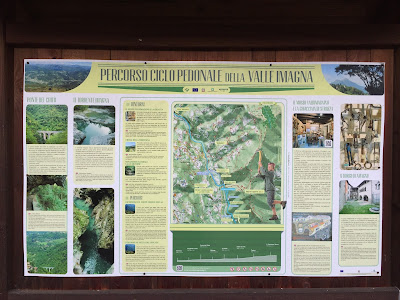 Sign describing walking and biking routes of Valle Imagna.