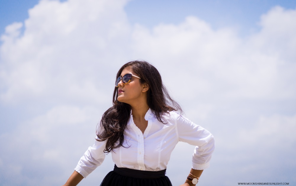 Posing against the sky in Bangalore, fashion blog india