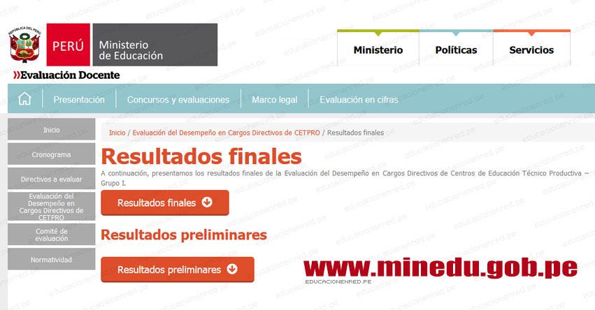 MINEDU: Resultados Finales Evaluación Desempeño Cargos Directivos de CETPRO (25 Septiembre 2018) www.minedu.gob.pe