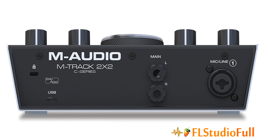 Parte traseira da interface de áudio M-Audio M-Track 2x2