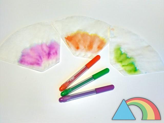 Colores naranja, verde y lila separados en sus colores primarios en papel de filtro