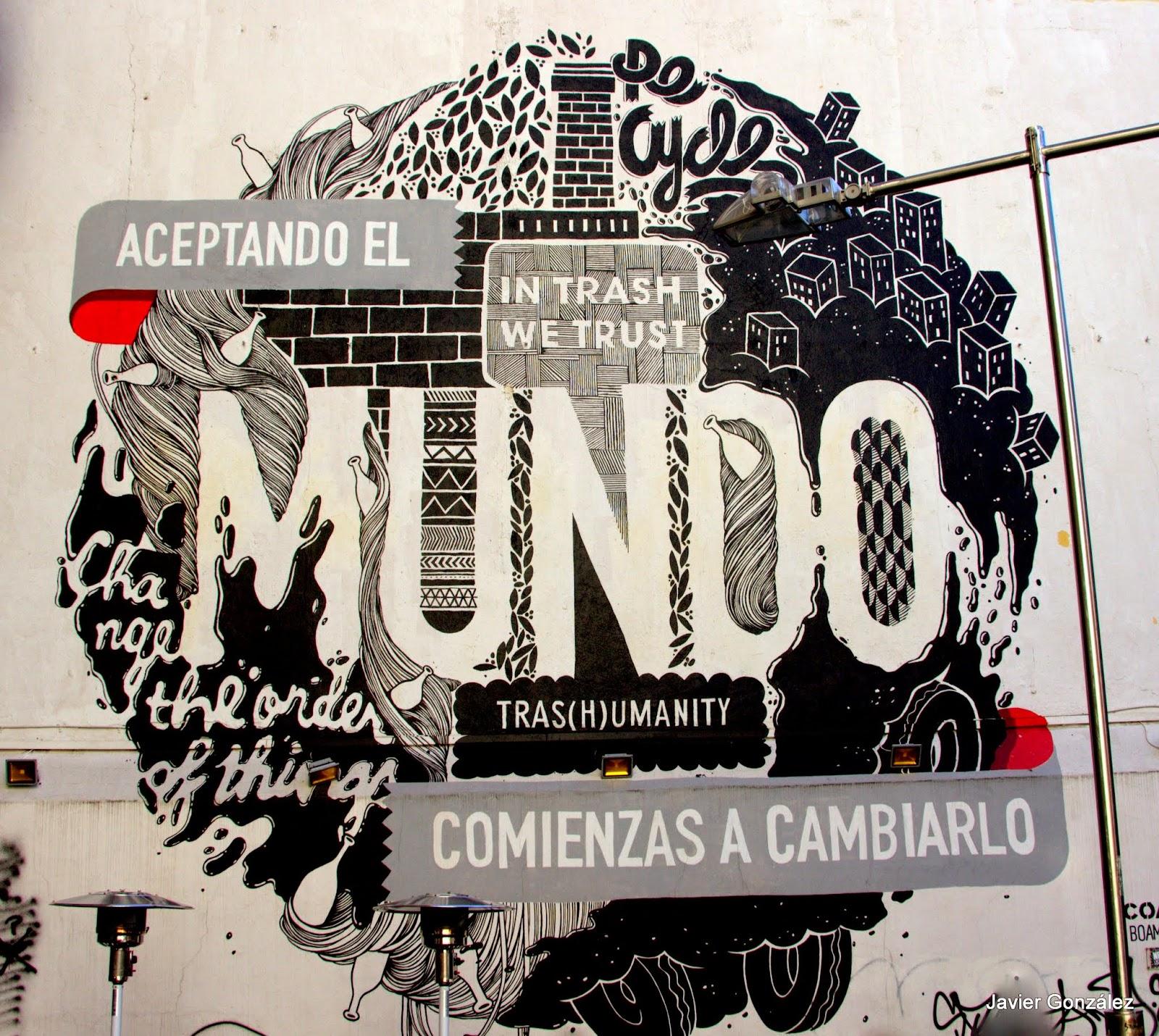 Mural. Calle Hortaleza. Reciclaje
