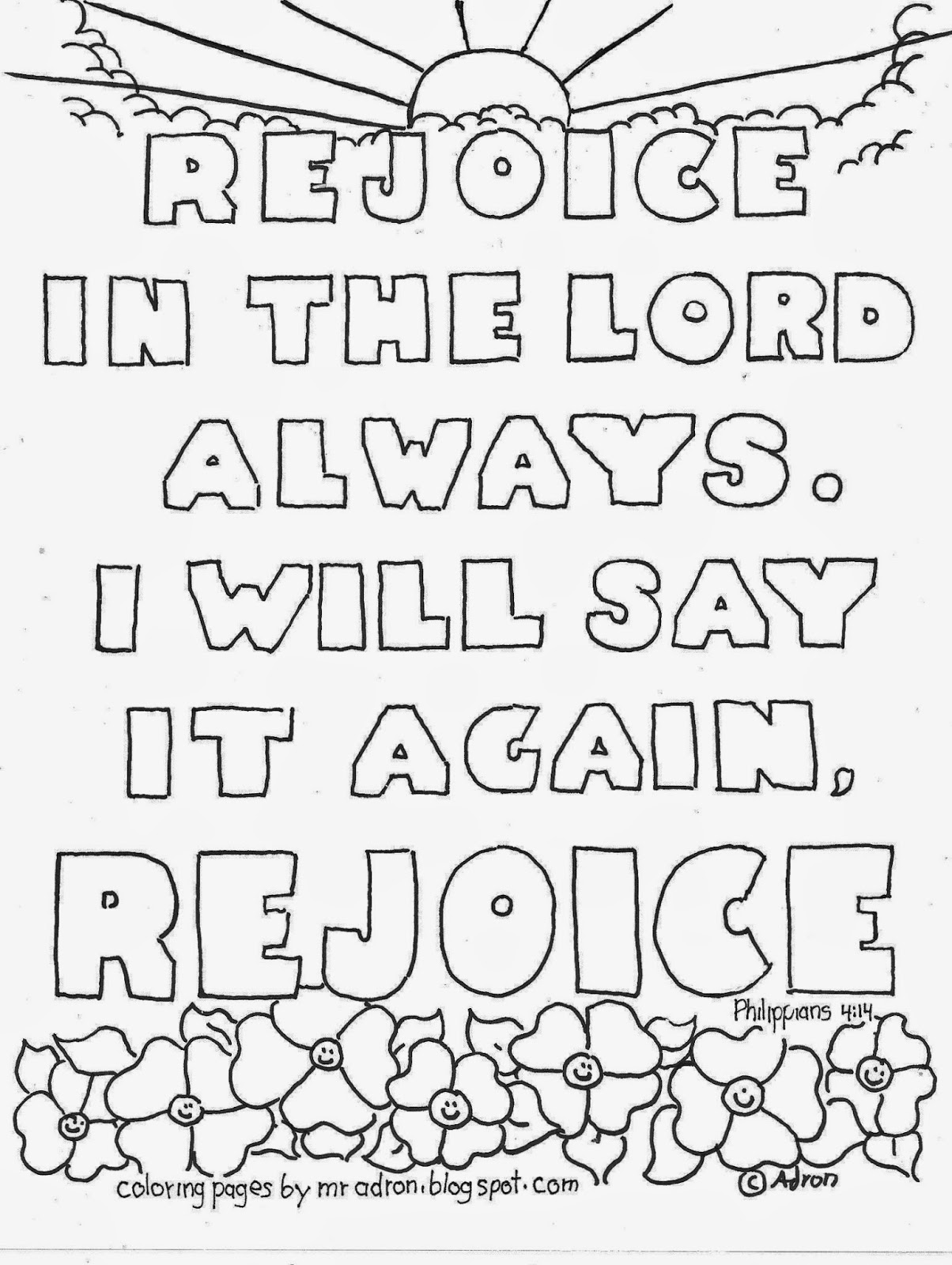 An illustration of Rejoice in the Lord that can be printed and colored.