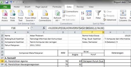 HasilVlookup Konversi Pada Raport
