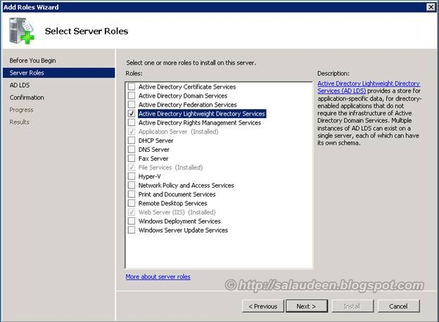 Add Active Directory Lightweight Directory Services Role