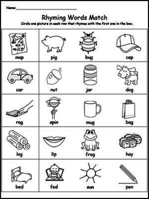 rhyming word match free printable activity worksheet