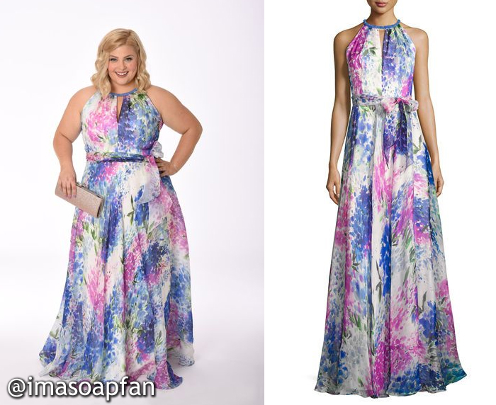 Amy Driscoll, Risa Dorken, Pink and Blue Floral Silk Gown, Carmen Marc Valvo, GH, Nurses Ball, General Hospital, Season 55