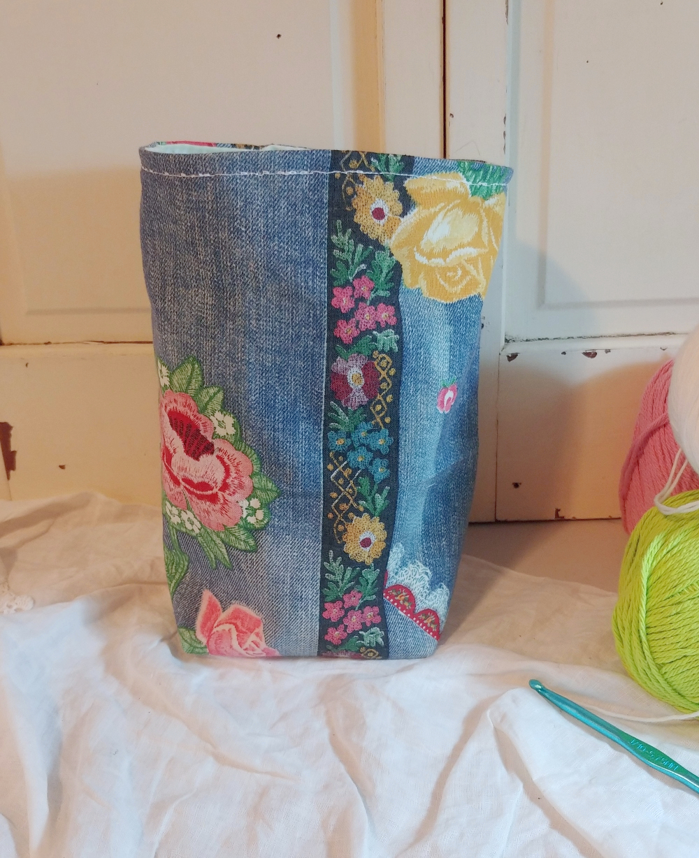 fabric basket with boxed bottom