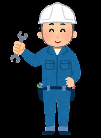 ヘルメットをかぶった整備士のイラスト(男性)