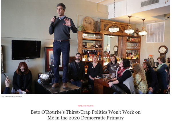 image of Beto O'Rourke standing on a table in a pub, for an audience of several bored-looking white people