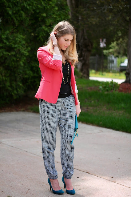 blank tank with coral blazer, black and white joggers, turquoise heels, JORD watch, turquoise clutch