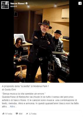 novità su Vasco Rossi post fb 2