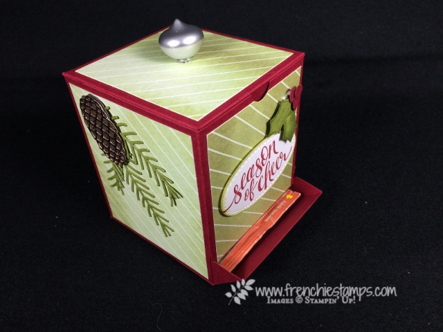 Frenchie live, 3-D, Video, Tea Dispenser,  Merry Little Label, Merry little Christmas designer paper, Pretty Pines Thinlits,