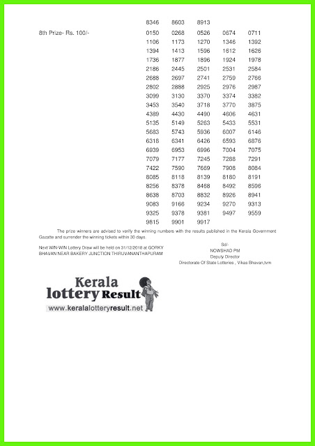 24-12-2018 WIN WIN Lottery W-492 Results Today - kerala lottery result