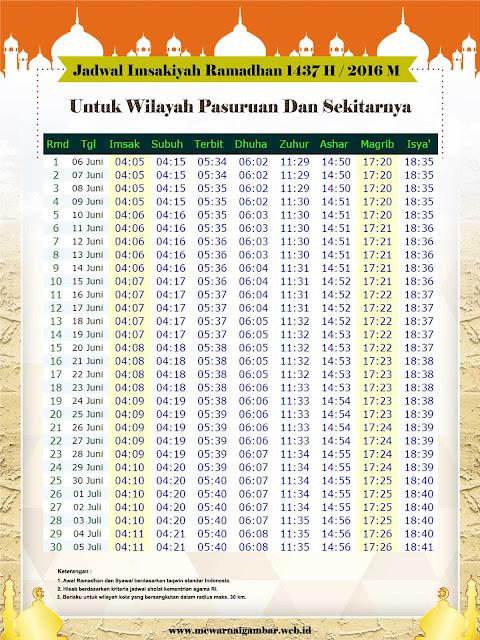 Jadwal Imsakiyah Pasuruan Ramadhan 1437 H
