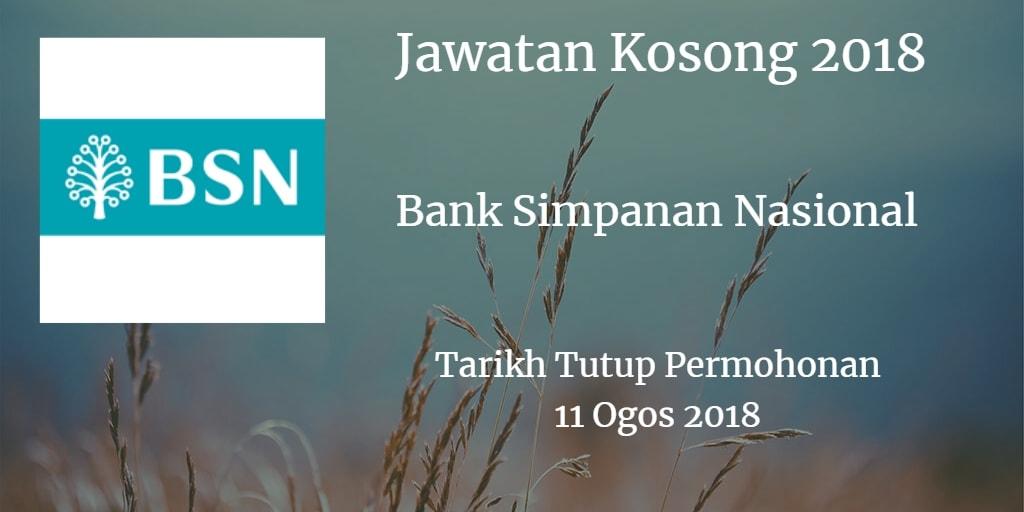 Jawatan Kosong BSN 11 Ogos 2018
