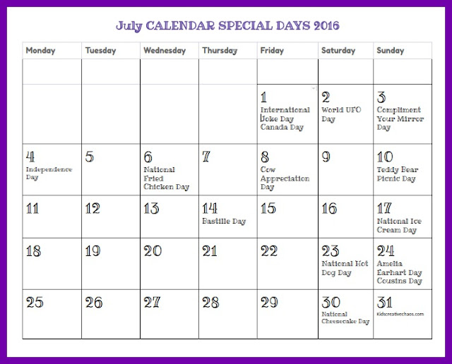 July Calendar of Special Days and Holidays for Curriculum Planning