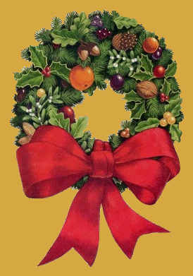 Wreath adorned with various items