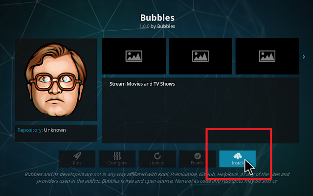 Install bubbles addon on kodi