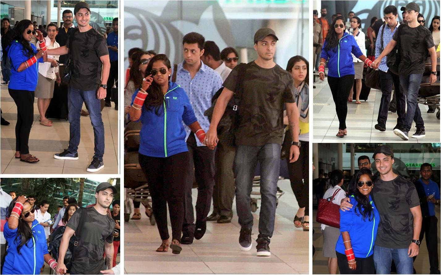 Arpita and Aayush at Mumbai airport after tieying a knot