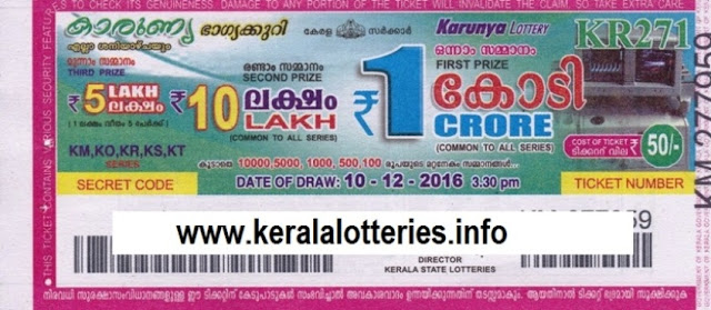 Official result of Kerala lottery Karunya_KR-293