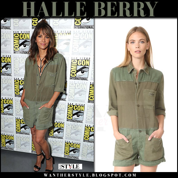 Halle Berry in green short romper hudson izzy what she wore comic con 2017