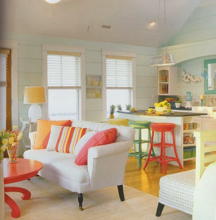 Living Room Designs Funny Colorful Living Room Decorating: Tons Neutros: Decorar Casas De Praia