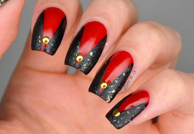 Red and Black Nail Art with Dior Nova