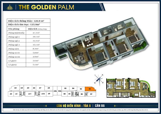 Mặt bằng căn B6 The Golden Palm