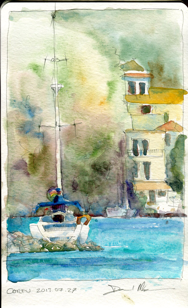 Corfu watercolour sketch by David Meldrum