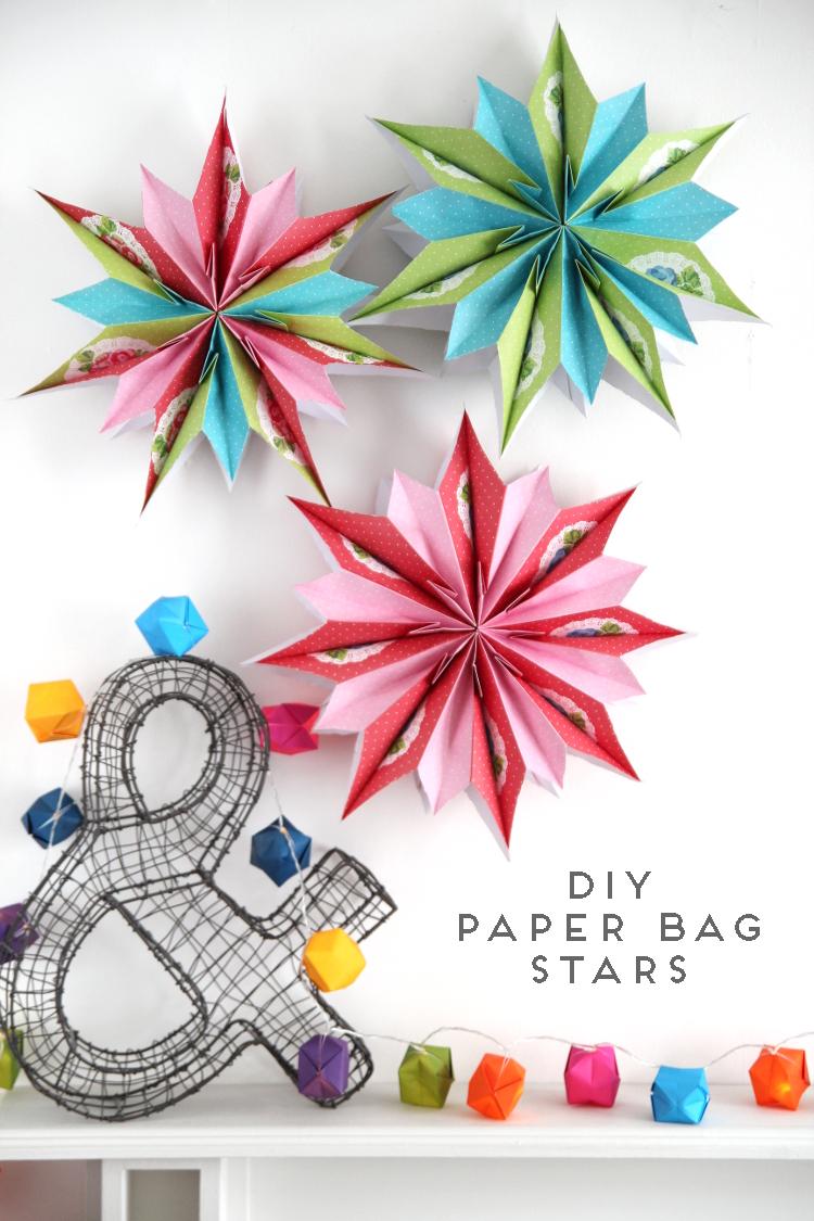 DIY HANGING PAPER BAG STAR DECORATIONS.