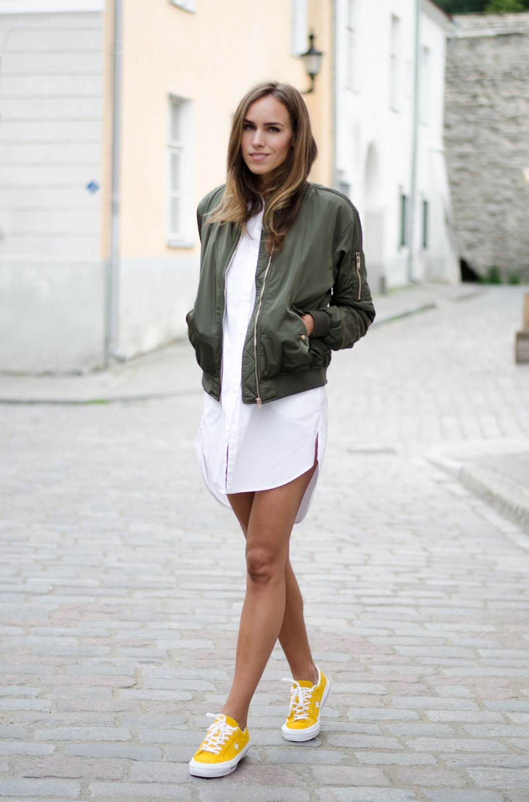 bomber jacket shirt dress yellow sneakers outfit