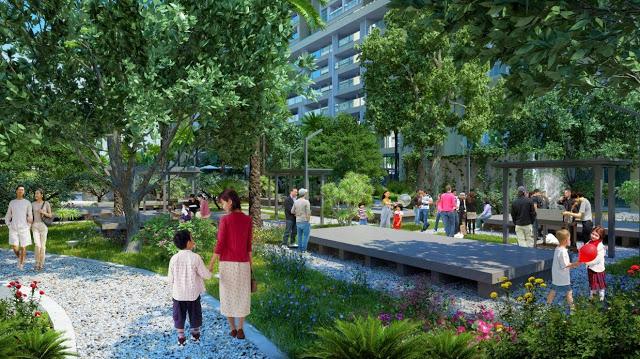 khu vườn cây xanh tại chung cư imperia Sky Garden