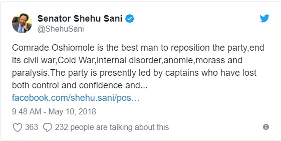 APC chair: Oshiomole is the best man to reposition the party - Shehu Sani