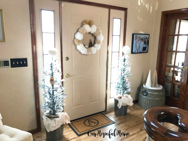 Christmas foyer decor DIY pom pom wreath garland