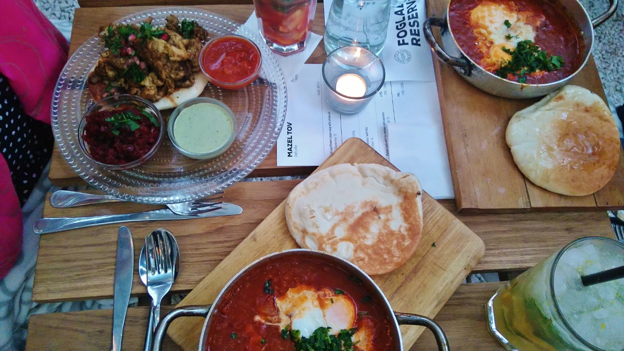 Middle Eastern dishes at Mazel Tov Restaurant in Budapest