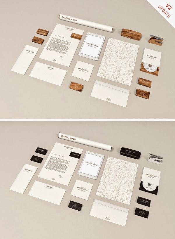 Wooden Stationery MockUp PSD
