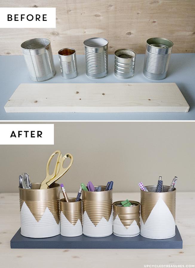 10 maneras creativas de reciclar latas, organizadores de escritorio