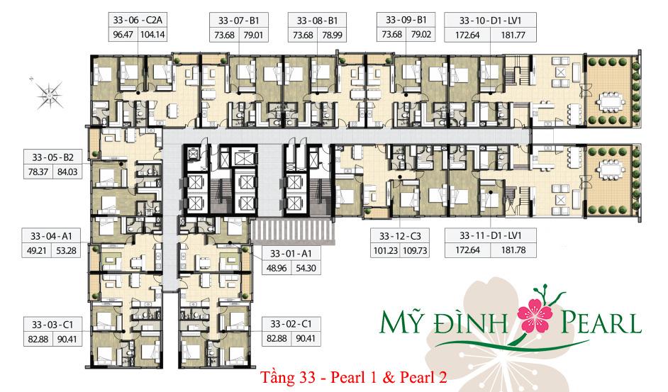 Mặt bằng căn hộ tầng 33