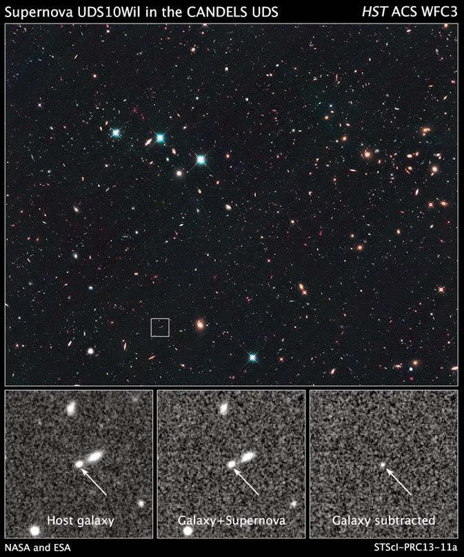 นี่คือมุมมองที่กล้องโทรทรรศน์อวกาศฮับเบิลของซูเปอร์โนวา SN UDS10Wil