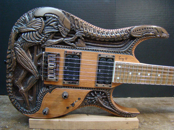 Carved Alien Guitar by Gig Goldstein