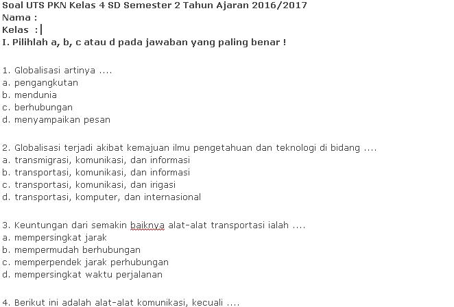 Download Soal UTS PKN Kelas 4 SD Semester 2 Terbaru Kurikulum KTSP